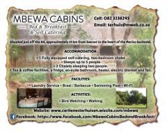 Mbewa Cabin Bed & Breakfast & Self Catering