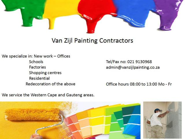 Van Zijl Painting Contractors Pty Ltd Bellville Contractors Directory - Painting contractors
