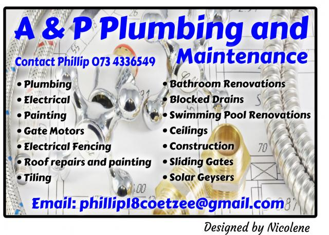 A p plumbing and maintenance pretoria north contractors directory Swimming pool maintenance pretoria