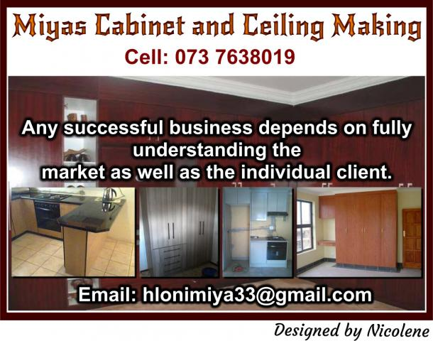 Miyas cabinet and ceiling making soweto contractors for Kitchen installers gauteng