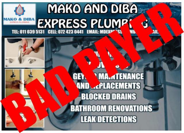 Mako Amp Diba Express Plumbing Johannesburg Contractors