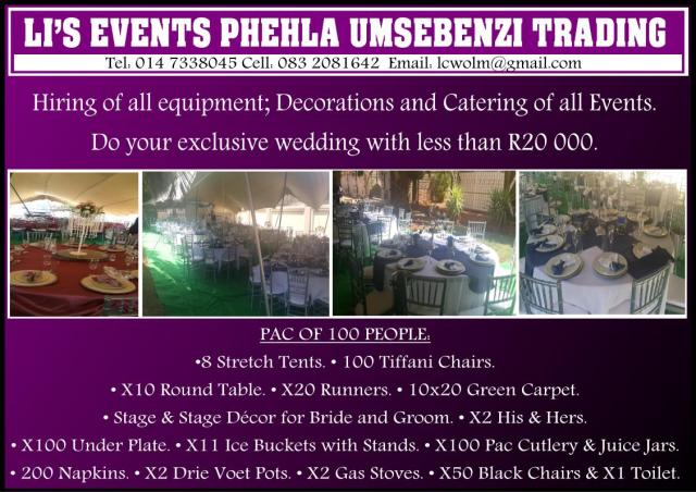 Li`s Events Phehla Umsebenzi Trading