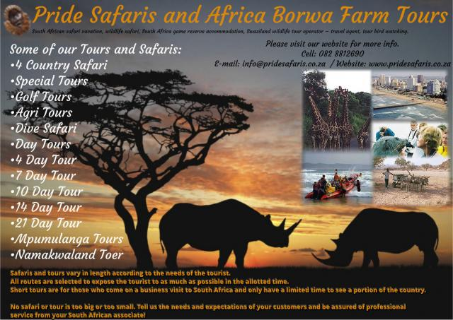 PRIDE SAFARIS AND AFRICA BORWA FARM TOURS