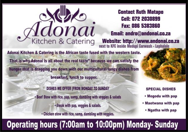 ANDONAI KITCHEN & CATERING Lephalale - Business Directory