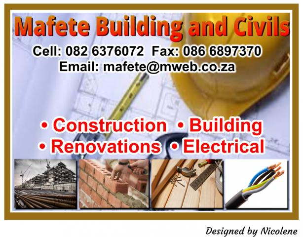 quality design 84a79 19101 Mafete Building and Civils