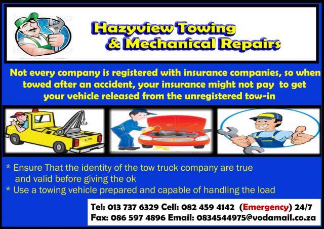 Hazyview towing & Mechanical Repairs